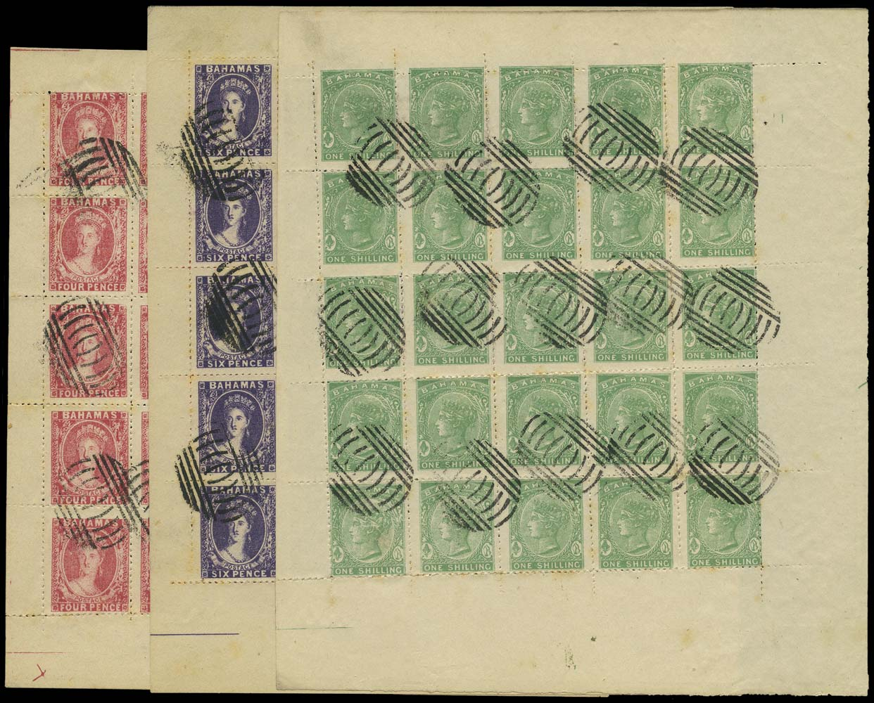 BAHAMAS 1861  SG5/6, 38 Forgery by Spiro of Chalon 4d and 6d, and 1s in complete sheets