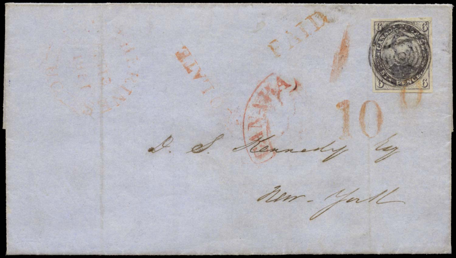 CANADA 1851  SG2 Cover to New York with 6d slate-violet Too Late