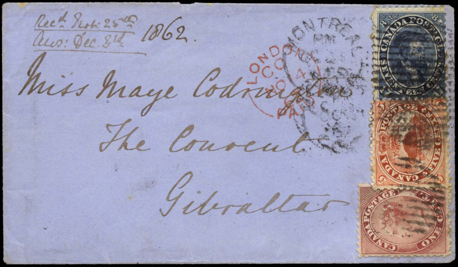 CANADA 1862  SG30, 32, 43a Cover to GIBRALTAR 23c three-colour franking
