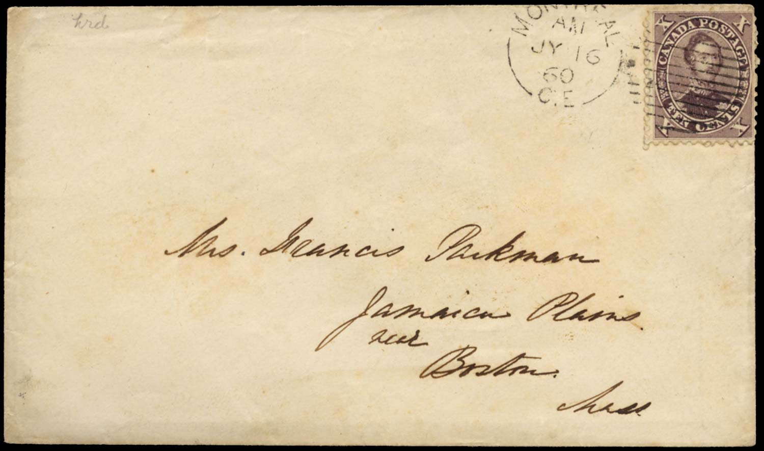 CANADA 1860  SG34 Cover to Boston franked 10c purple