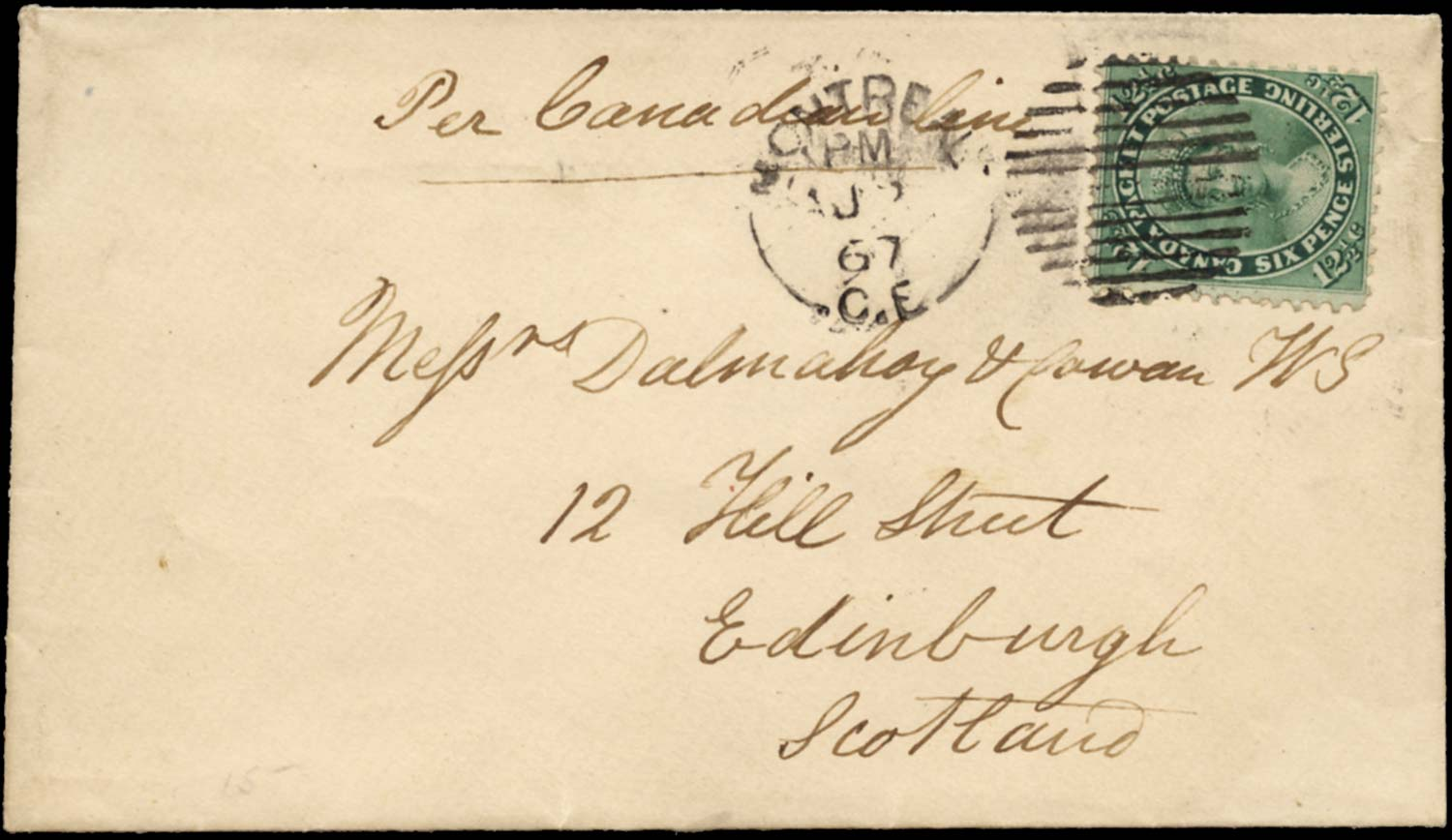 CANADA 1867  SG41 Cover to Scotland franked 12½c blue-green