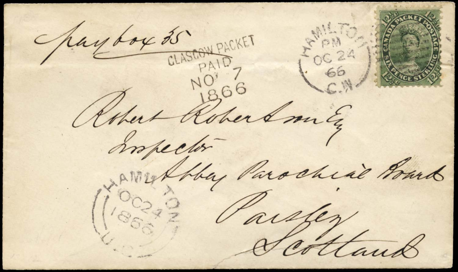 CANADA 1866  SG39 Cover to Scotland franked 12½c deep yellow-green