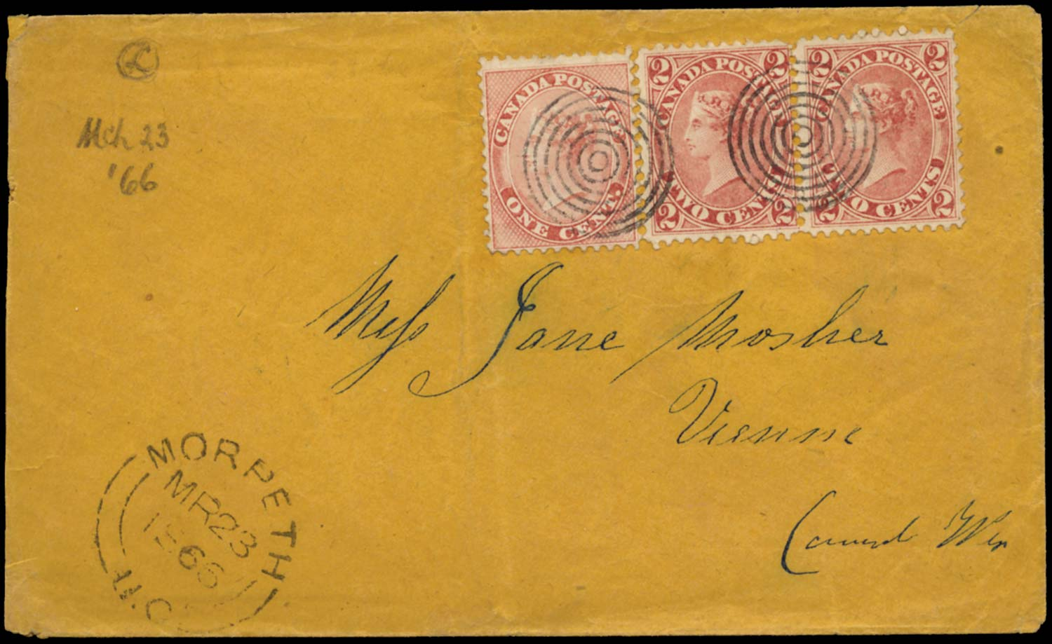 CANADA 1866  SG29, 44 Cover to Vienna franked 1c rose and 2c rose-red