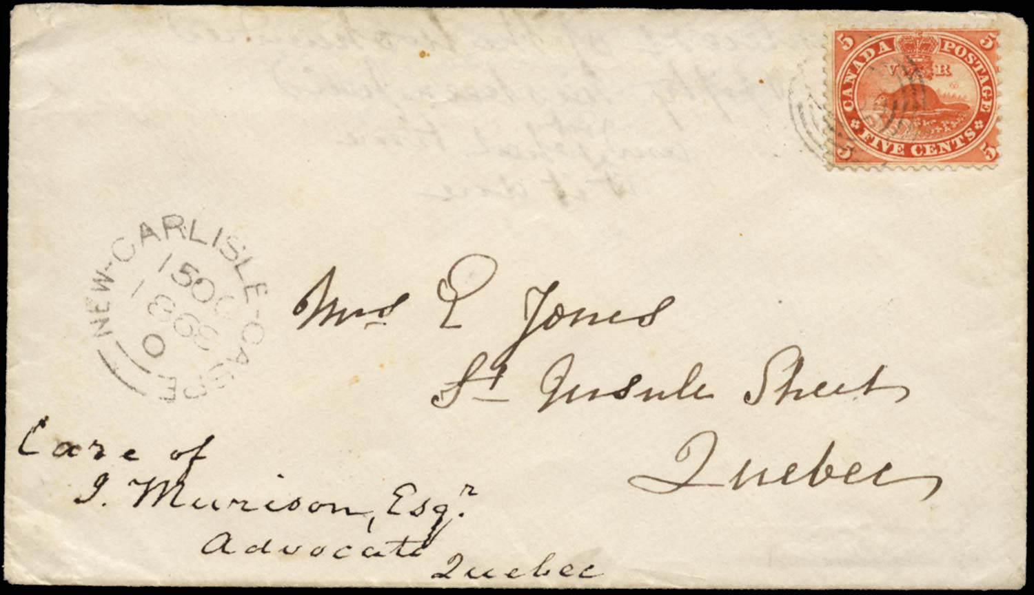 CANADA 1868  SG32 Cover to Quebec franked with 5c Beaver