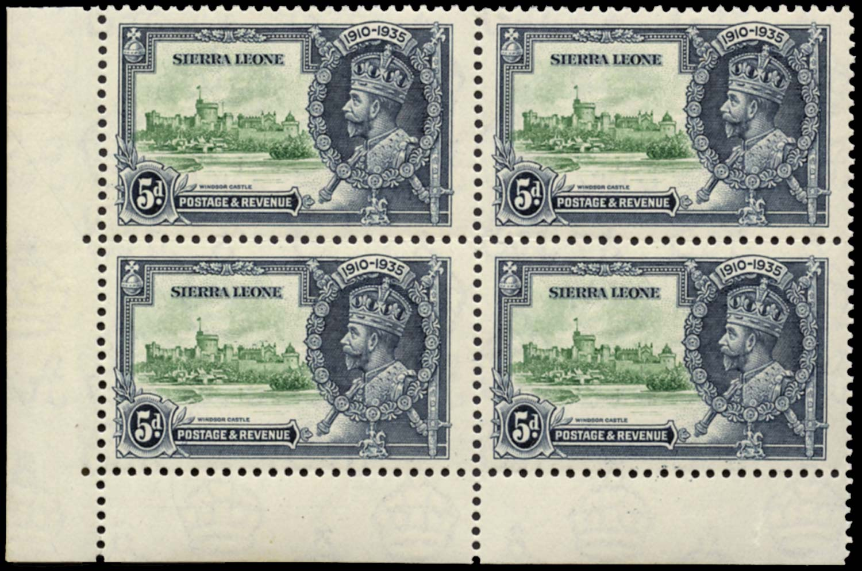 SIERRA LEONE 1935  SG183a Mint Silver Jubilee 5d Extra Flagstaff unmounted