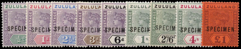 ZULULAND 1894  SG20s/28s Specimen set of 9 to £1