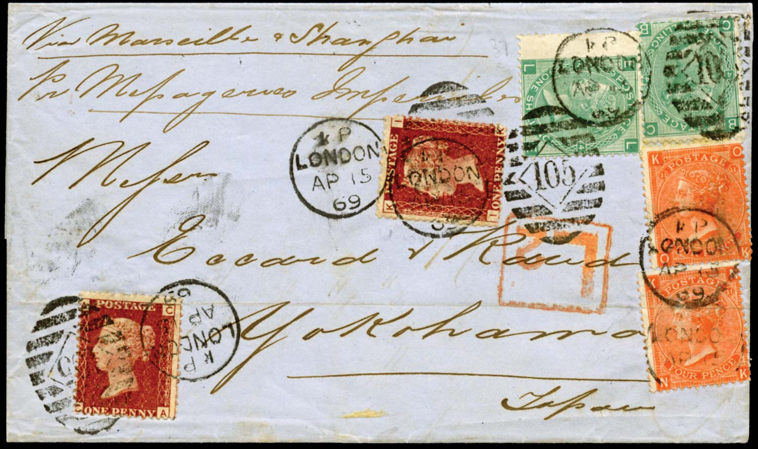 GB 1869  SG43,95,117 Cover to Yokohama, Japan