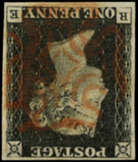 GB 1840  SG2wi Pl.1b Penny Black - Wmk. Inverted