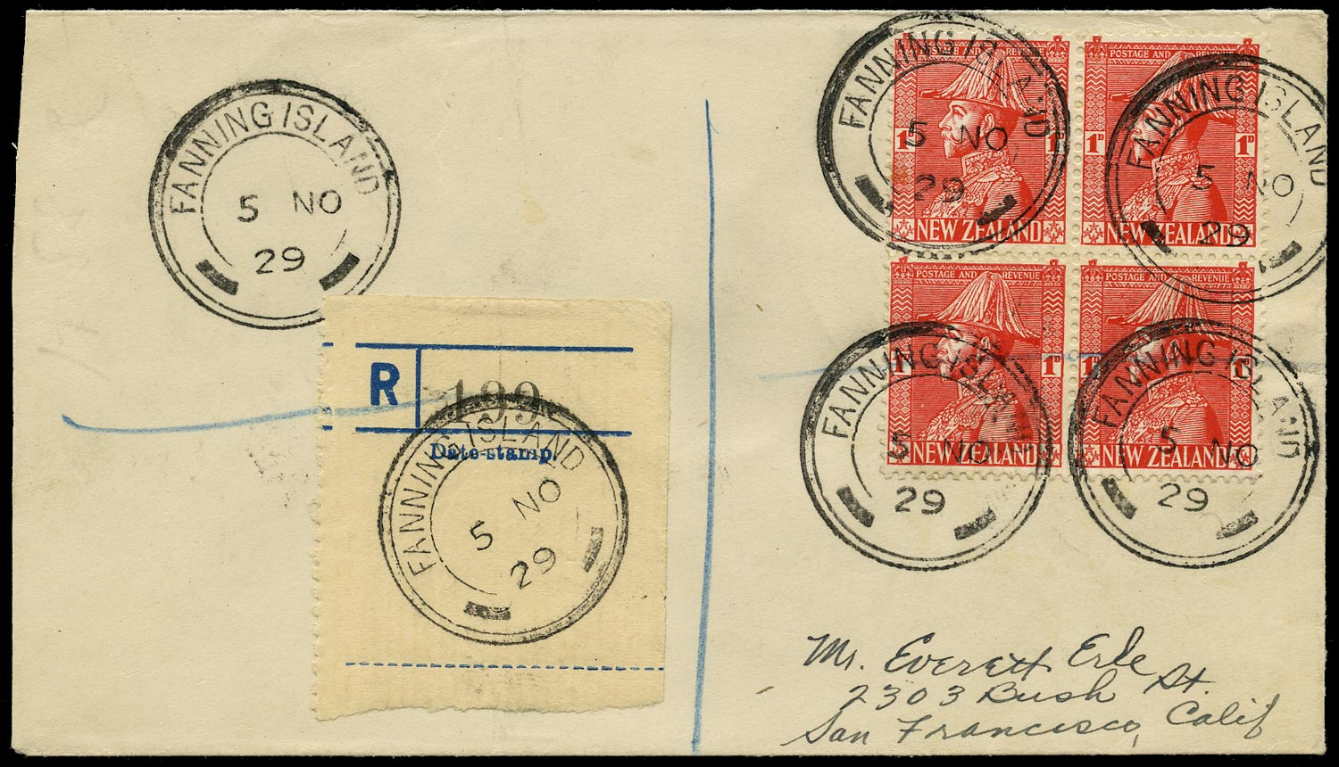 GILBERT & ELLICE IS 1929 Cover from Fanning Island bearing NZ stamps