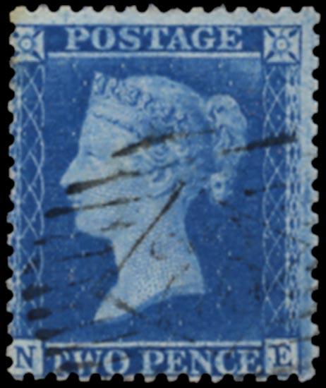 GB 1857  SG35var Pl.6 Used London City numeral, re-entry (NE)