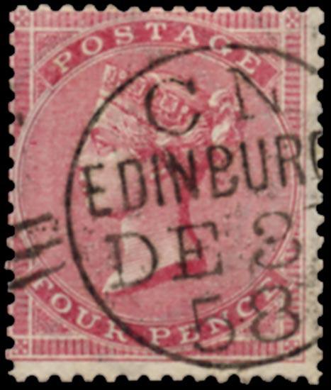 GB 1857  SG66 Used VFU (large garter) example, Edinburgh