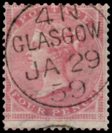 GB 1857  SG66a Used Glasgow cds example