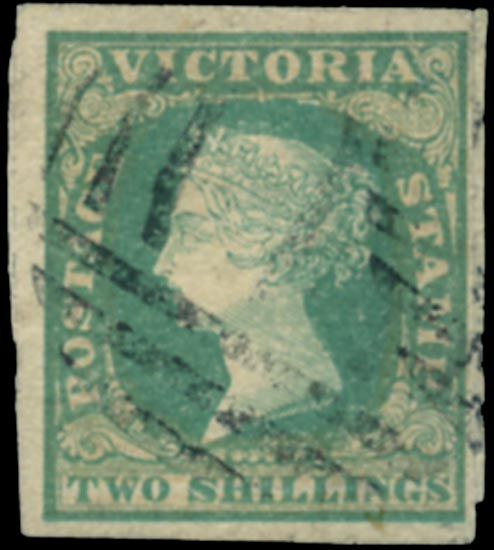 VICTORIA (AUS) 1857  SG56 Used 2s dull bluish green rouletted 7-9