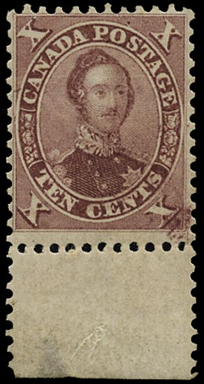 CANADA 1859  SG34 var Mint 10c purple Prince Consort with 'C' flaw