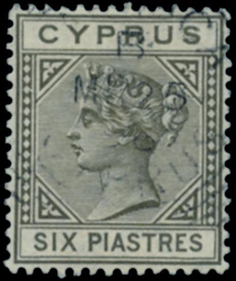 CYPRUS 1894  SG36 Used 6pi olive-grey watermark CA die II