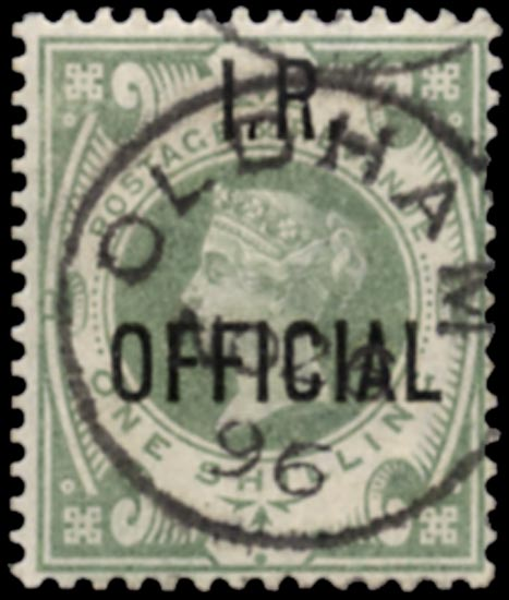 GB 1889  SGO15 Official (I.R. Official) Oldham cds example