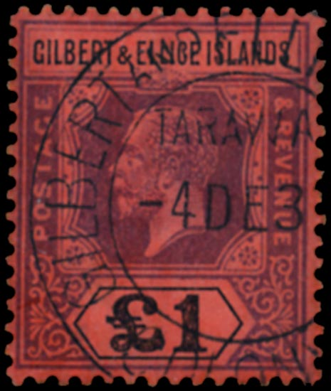 GILBERT & ELLICE IS 1912  SG24 Used £1 purple and black on red