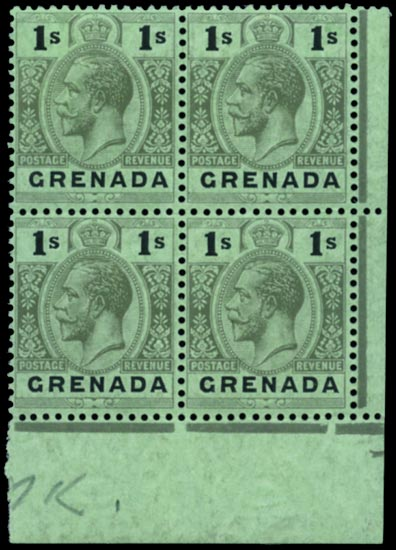GRENADA 1913  SG98dw Mint 1s watermark inverted unmounted