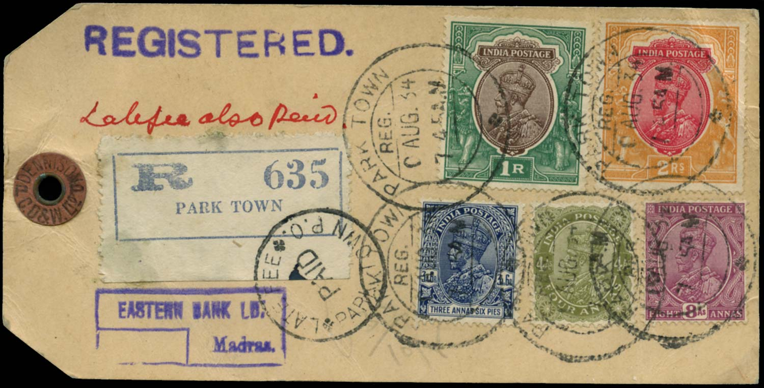 INDIA 1934  SG210, 212, 214, 215, 238 Cover registered parcel tag from Park Town