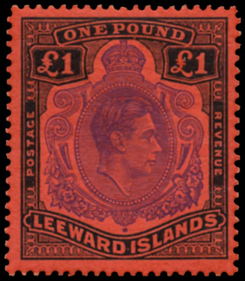 LEEWARD ISLANDS 1938  SG114ca Mint KGVI £1 variety WATERMARK SIDEWAYS