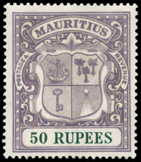 MAURITIUS 1921  SG222 Mint 50r dull purple and green
