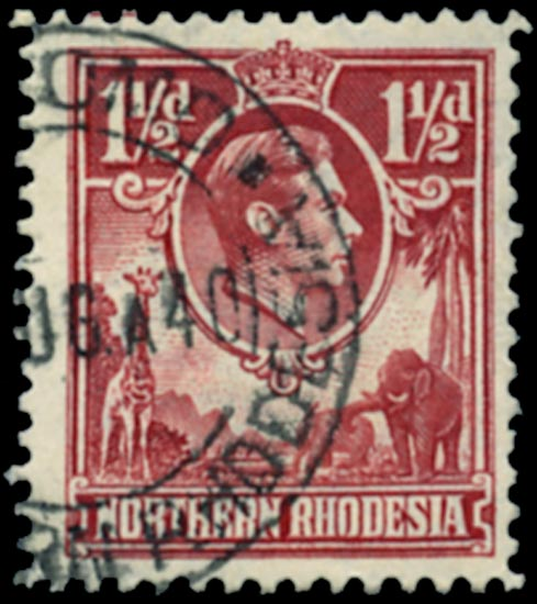 NORTHERN RHODESIA 1938  SG29b Used 1½d carmine-red Tick Bird flaw