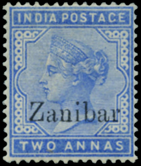 ZANZIBAR 1895  SG7k Mint 2a blue overprint error ZANIBAR