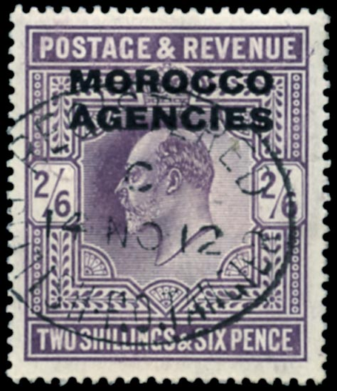 MOROCCO AGENCIES 1907  SG38a Used De La Rue 2s6d dull purple