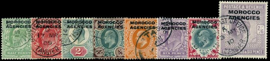 MOROCCO AGENCIES 1907  SG31/38 Used set of 8 to 2s6d pale dull purple