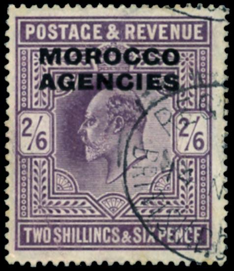 MOROCCO AGENCIES 1907  SG38a Used De La Rue printing 2s6d dull purple
