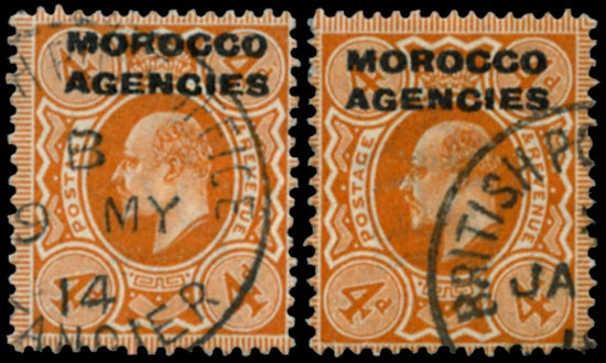 MOROCCO AGENCIES 1907  SG40 Used Harrison printing 4d bright orange shades
