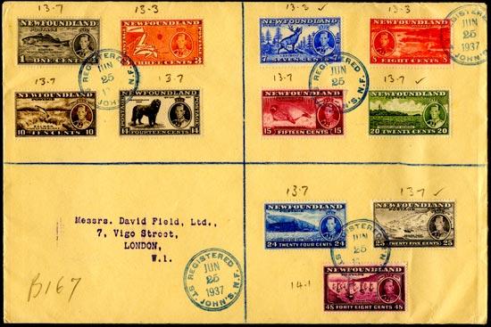 NEWFOUNDLAND 1937  SG257d/67 Cover Coronation set inclg 7c perf 13 comb