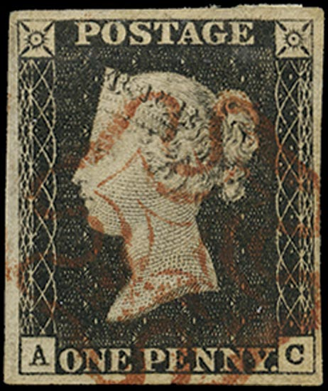 GB 1840  SG3 Pl.1a Penny Black VFU red MC (AC)