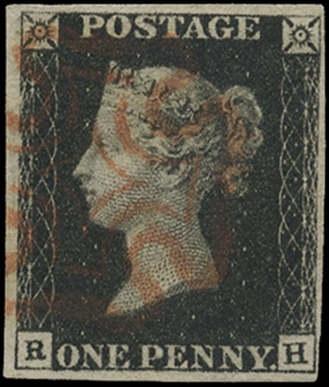 GB 1840  SG1 Pl.2 Penny Black VFU orange-red MC (RH)