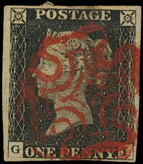 GB 1840  SG2 Pl.3 Penny Black VFU bright red MC (GI)