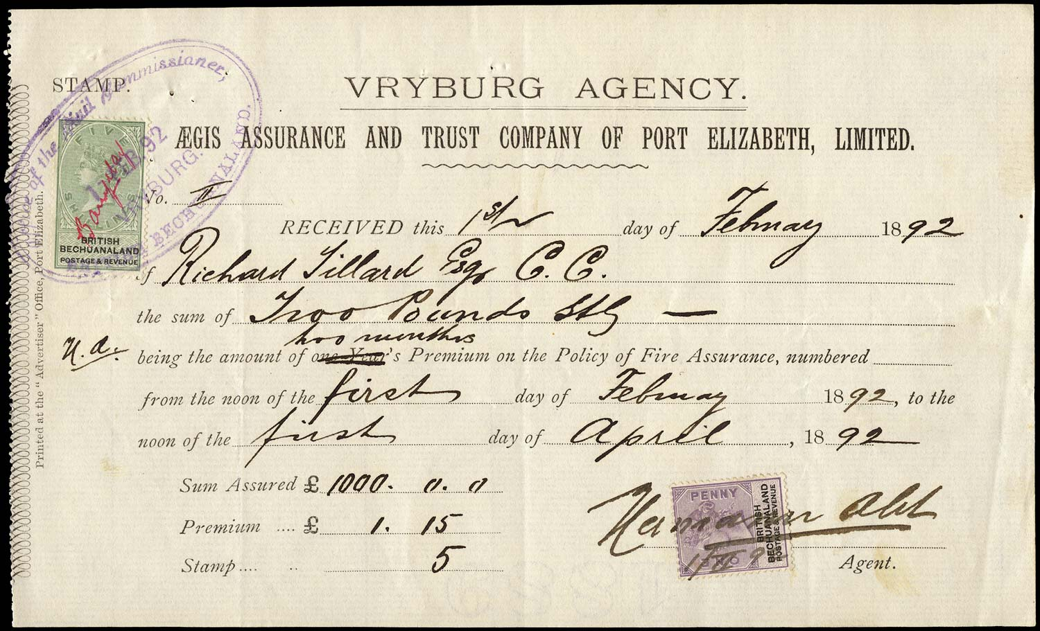 BECHUANALAND 1892  SG10, 18 Revenue receipt for Aegis fire assurance policy