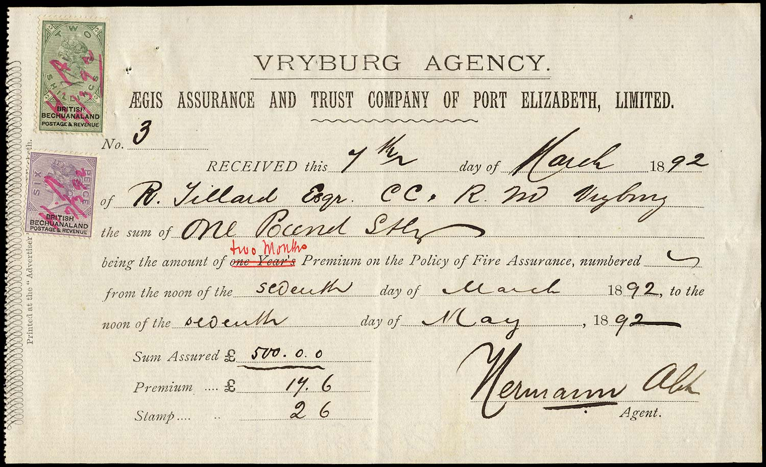 BECHUANALAND 1892  SG14, 16 Revenue receipt for Aegis fire assurance policy