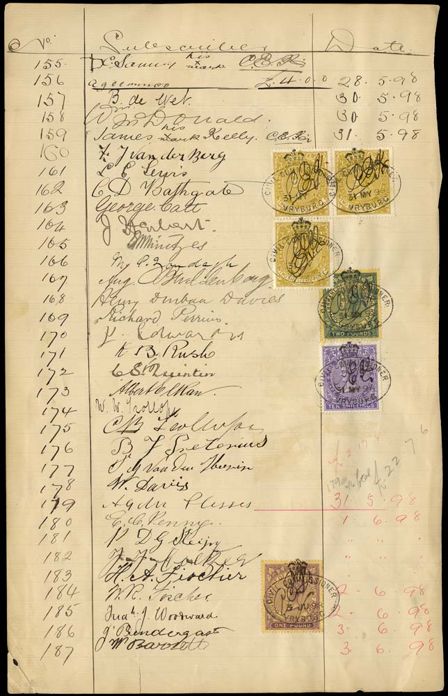 BECHUANALAND 1898 Revenue document with Cape of Good Hope stamps