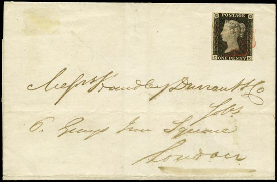 GB 1840  SG2 Pl.2 Penny Black Litchfield to London (CK)