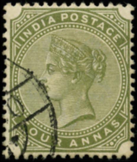 INDIA 1882  SG96w Used 4a slate-green WATERMARK INVERTED