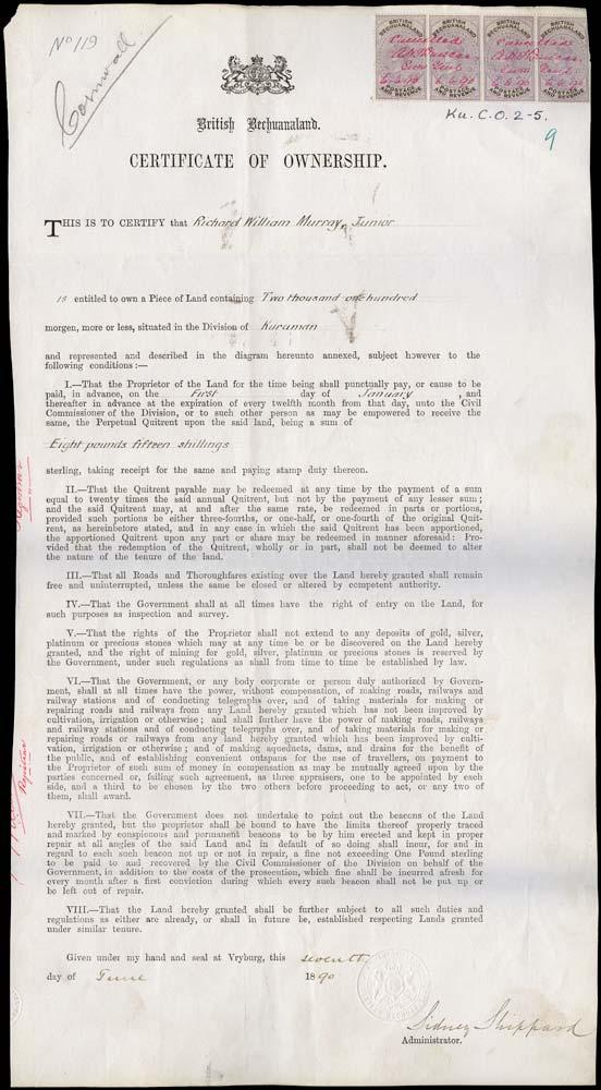 BECHUANALAND 1890  SG20 Revenue document with 1888 £1 x4