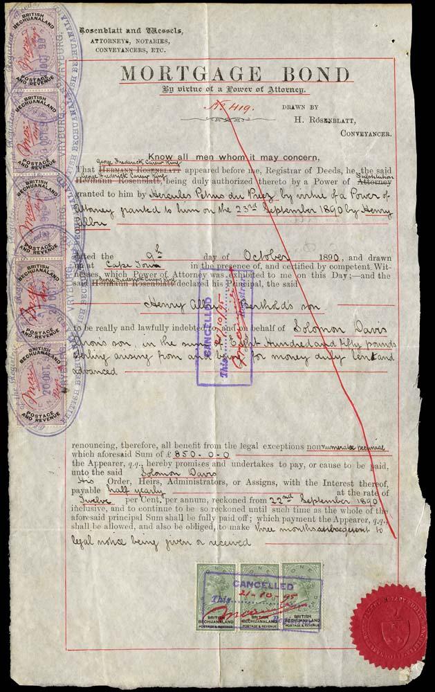 BECHUANALAND 1890  SG15, 20 Revenue document with 1888 £1 x5