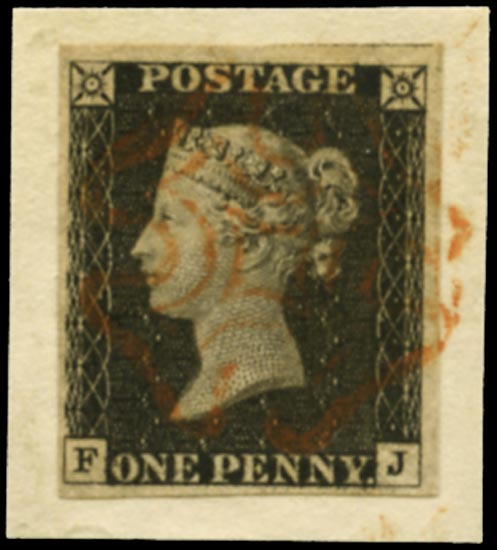 GB 1840  SG2 Pl.2 Penny Black VFU red MC (FJ)