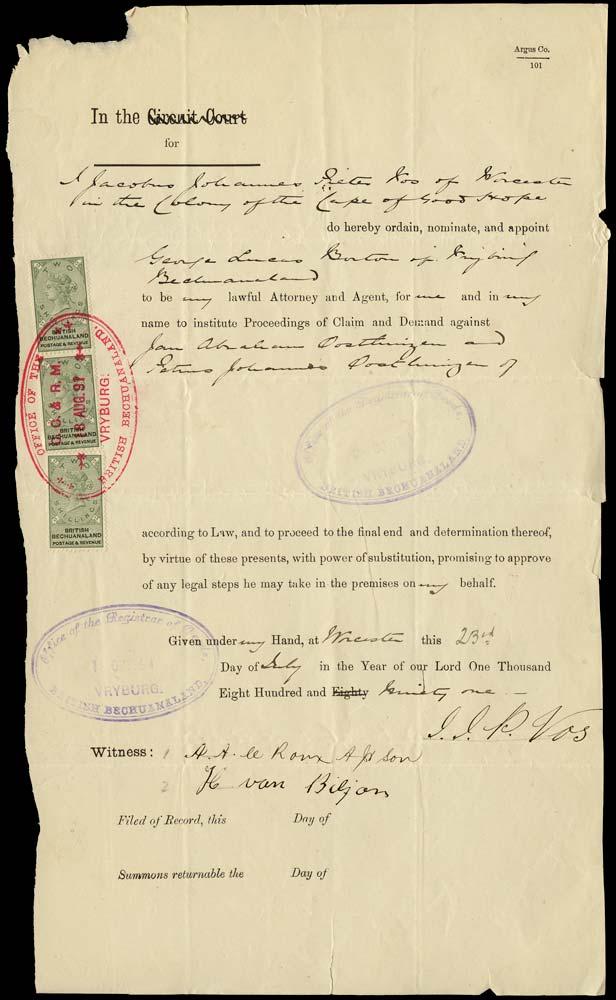 BECHUANALAND 1891  SG16 Revenue document with 1888 2s x3