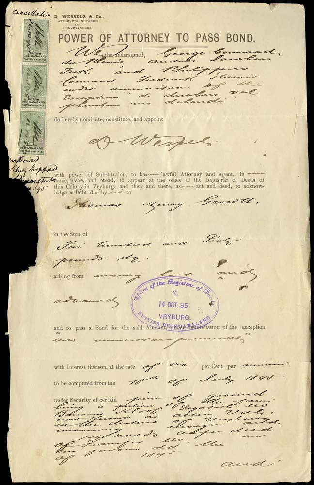 BECHUANALAND 1890  SG18 Revenue document with 1888 5s x3