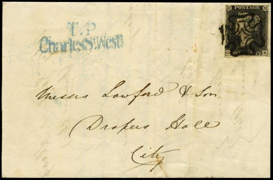 GB 1840  SG2 Pl.8 Penny Black Local London mailing (OK)