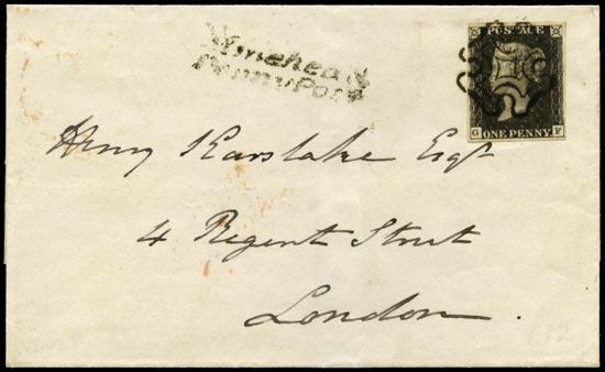 GB 1840  SG2 Pl.8 Penny Black Minehead to London (GF)