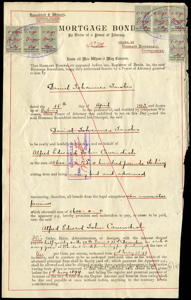 BECHUANALAND 1893  SG19 Revenue document with 1888 10s x7