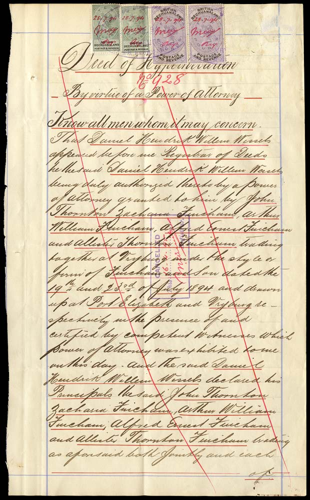 BECHUANALAND 1894  SG19, 21 Revenue document with 1888 10s x2, £5 x2