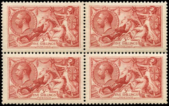 GB 1913  SG401 Mint unused o.g. block of four